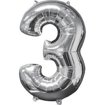 Ballon aluminium chiffre 3 argent 66cm