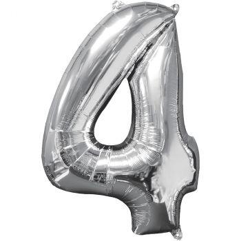 Ballon aluminium chiffre 4 argent 66cm