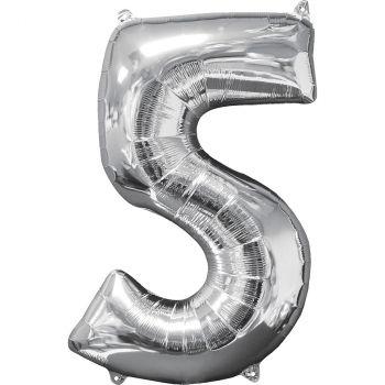 Ballon aluminium chiffre 5 argent 66cm
