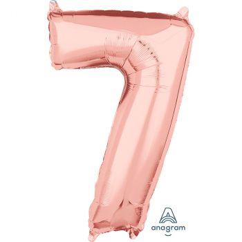 Ballon aluminium chiffre 7 rose gold 66cm