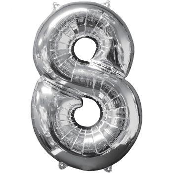 Ballon aluminium chiffre 8 argent 66cm