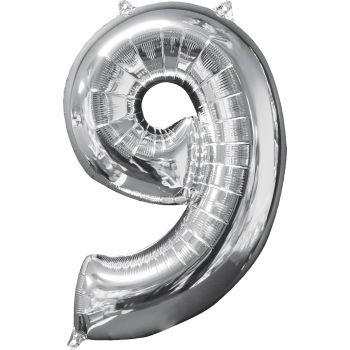 Ballon aluminium chiffre 9 argent 66cm