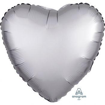 Ballon aluminium cœur argent 43cm