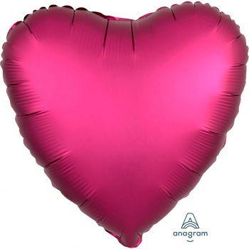 Ballon aluminium cœur fuchsia 43cm