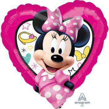 Ballon aluminium cœur Minnie 43cm