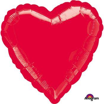 Ballon aluminium cœur  rouge métallisé 43cm