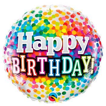Ballon aluminium happy birthday confetti 45 cm