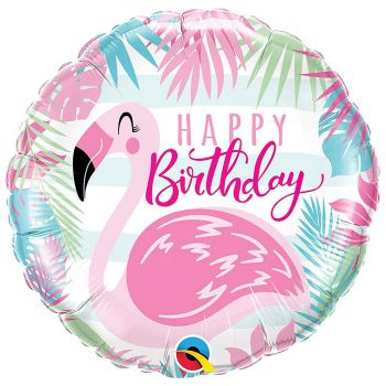 Ballon aluminium happy birthday flamand 45 cm