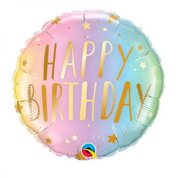 Ballon aluminium happy birthday pastel 45cm