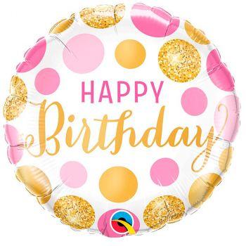 Ballon aluminium happy birthday rose et or 45 cm