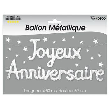 Ballon aluminium joyeux anniversaire blanc