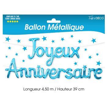 Ballon aluminium joyeux anniversaire bleu
