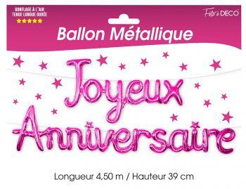 Ballon aluminium joyeux anniversaire fuchsia