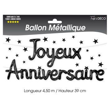 Ballon aluminium joyeux anniversaire noir