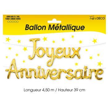 Ballon aluminium joyeux anniversaire or