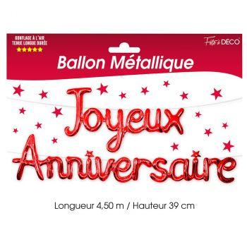 Ballon aluminium joyeux anniversaire rouge