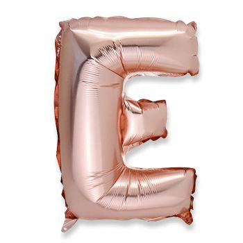 Ballon aluminium lettre E rose gold 36cm