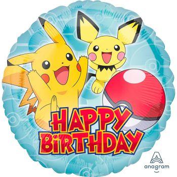 Ballon aluminium rond Pokémon happy birthday