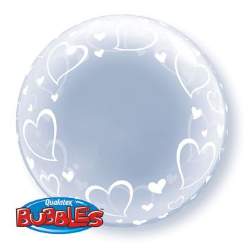 Ballon Bubble coeur transparent 24 pouces
