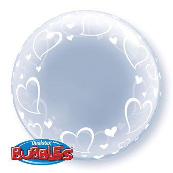 Ballon Bubble coeur transparent 24 pouces