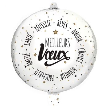 Ballon foil 48cm meilleur vœux blanc