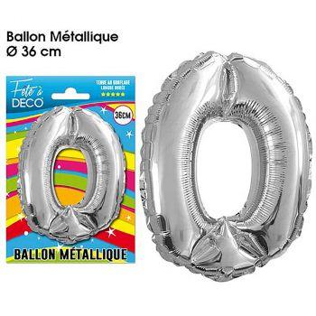 Ballon géant aluminium chiffre 0 argent 36cm