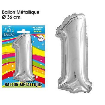 Ballon géant aluminium chiffre 1 argent 36cm