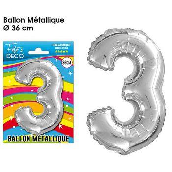 Ballon géant aluminium chiffre 3 argent 36cm