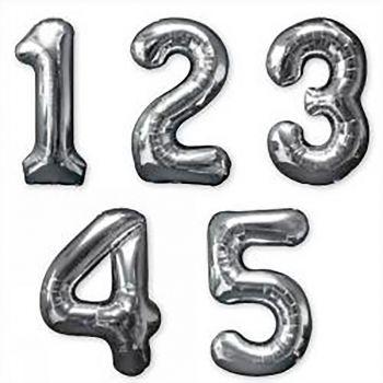 Ballon géant aluminium chiffre 8 argent 83cm