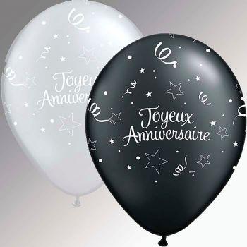 Ballon latex imprimé joyeux anniversaire noir et argent 28cm