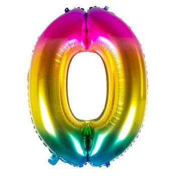 Ballon aluminium chiffre 0 multicolore 86cm