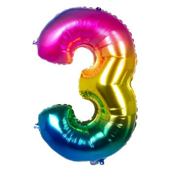 Ballon multicolor en aluminium chiffre 3 de 86cm