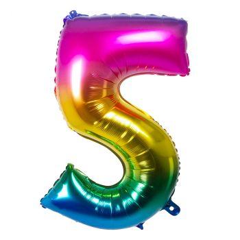 Ballon multicolor en aluminium chiffre 5 de 86cm