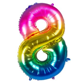 Ballon multicolor en aluminium chiffre 8 de 86cm