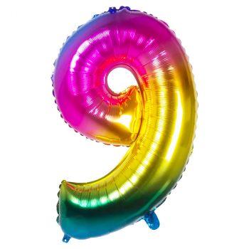 Ballon multicolor en aluminium chiffre 9  de 86cm