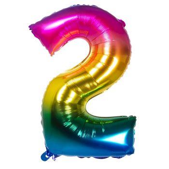 Ballon aluminium chiffre 2 multicolore 86cm