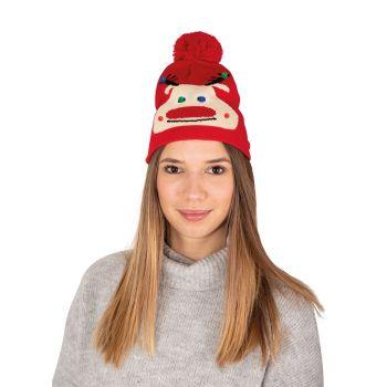 Bonnet adulte rouge lumineux renne