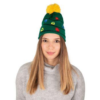 Bonnet adulte vert lumineux guirlande