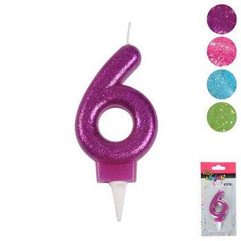 Bouge anniversaire chiffre 6 - 4 couleurs au choix