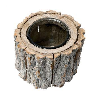 Bougeoir rondin de bois D15cm
