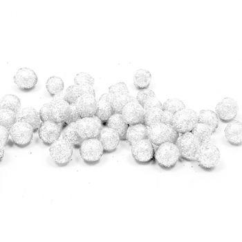 Boules pailletées décoratives blanc