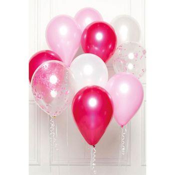 Bouquet ballons latex rose x10