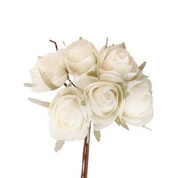 Bouquet rose 29cm ivoire