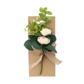 Carte bouquet de fleur ivoire 18cm