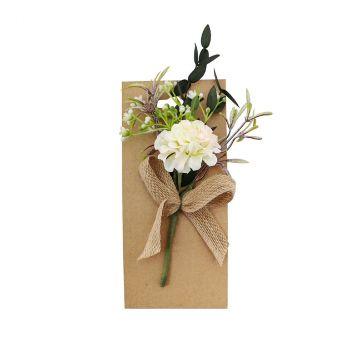 Carte bouquet de fleur rose/blanc 17cm