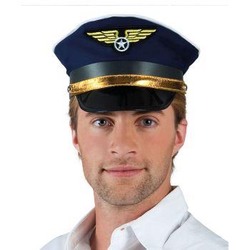 Casquette de pilote avion bleu