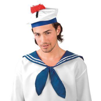 Chapeau de marin à pompons rouge