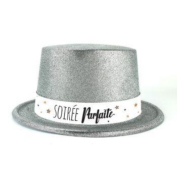 Chapeau plastique bonne année argent