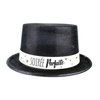 Chapeau plastique bonne année noir