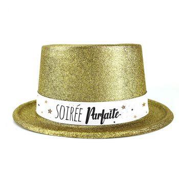 Chapeau plastique bonne année or